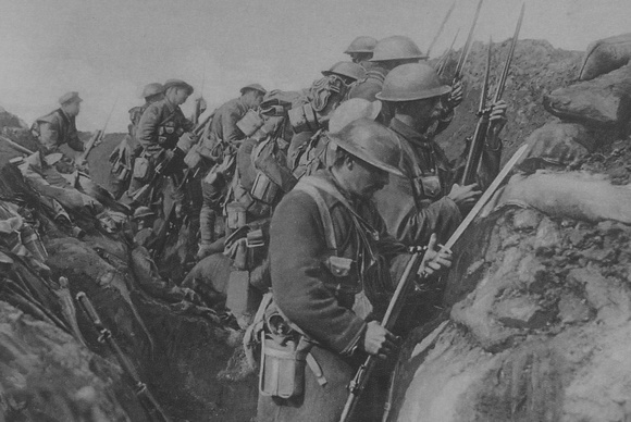 Canadian Soldiers Fix Bayonets In Readiness For A Charge On The Somme