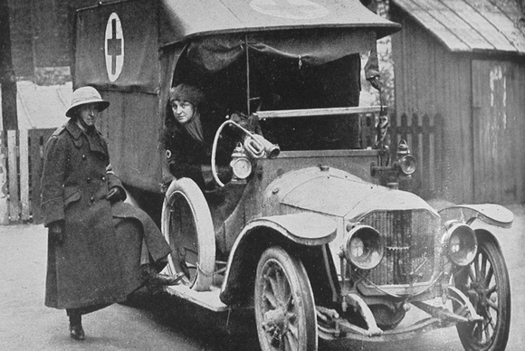 Members Of The First Aid Nursing Yeomanry Corps Learning To Drive Motor Ambulances