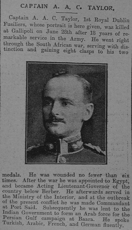 UK Photo And Social History Archive: The Graphic T &emdash; Taylor A A C Captain 1st Royal Dublin Fusiliers The Graphic 22nd July 1915