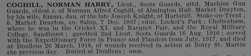 UK Photo And Social History Archive: C &emdash; Coghill N H Lt Scots Guards Attd Gaurds Machine Gun Corps Obit