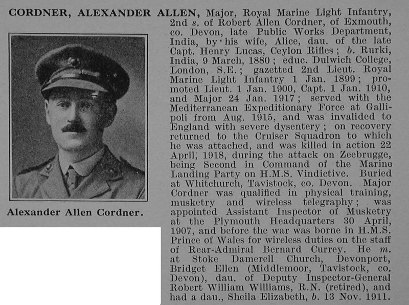 UK Photo And Social History Archive: C &emdash; Cordner A A Major Royal Marine Light Infantry Obit