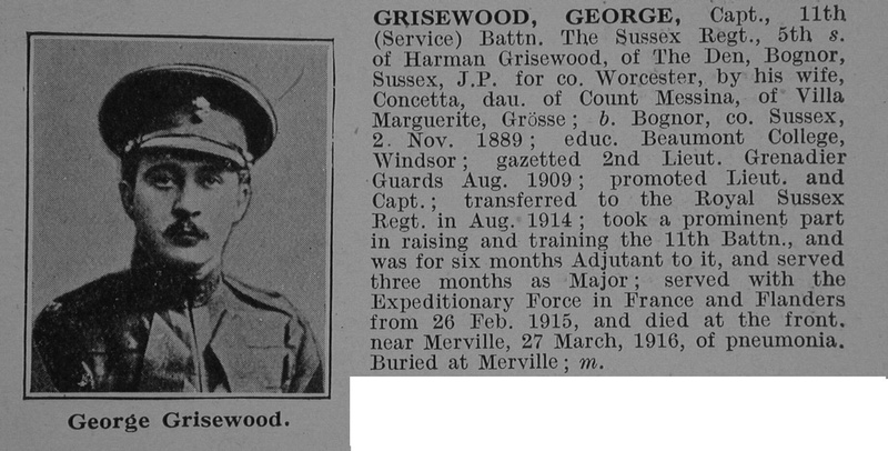 UK Photo And Social History Archive: G &emdash; Grisewood G Captain 11th Royal Sussex Regiment Obit