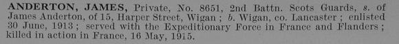 UK Photo Archive: A &emdash; Anderton J Pte 8651 2nd Scots Guards Obit