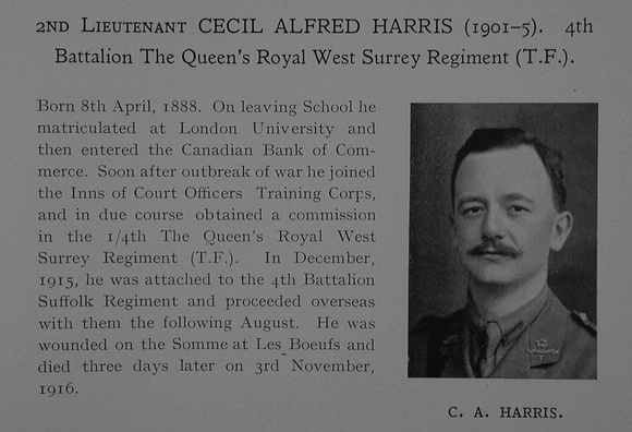 UK Photo Archive: Dulwich College War Record 1914-1919 &emdash; Harris C A 2nd Lt 4th Queens (Royal West Surrey Regiment) Obit Dulwich College Roll Of Honour