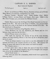 Barnes E L Captain Kings Own Royal Lancaster Regiment Obit Harrow Roll Of Honour Vol 3