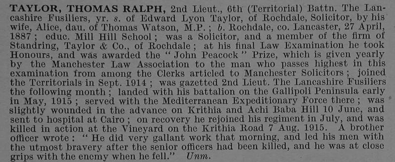 UK Photo Archive: T &emdash; Taylor T R 2nd Lt 6th Lancashire Fusiliers Obit De Ruvignys Roll Of Honour Vol 4