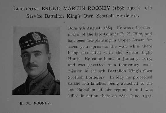 UK Photo Archive: Dulwich College War Record 1914-1919 &emdash; Rooney B M Lt 9th Kings Own Scottish Borderers Obit Dulwich College Roll Of Honour