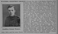 Waters G E Pte 5th London Regt Obit De Ruvignys Roll Of Honour Vol 1