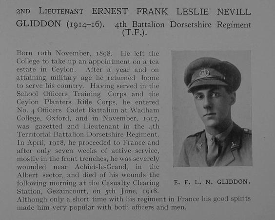 UK Photo Archive: Dulwich College War Record 1914-1919 &emdash; Gliddon E F L N 2nd Lt 4th Dorset Regiment Obit Dulwich College Roll Of Honour