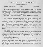 Bovill E H 2nd Lt 16th London Regiment Obit Harrow Roll Of Honour Vol 3