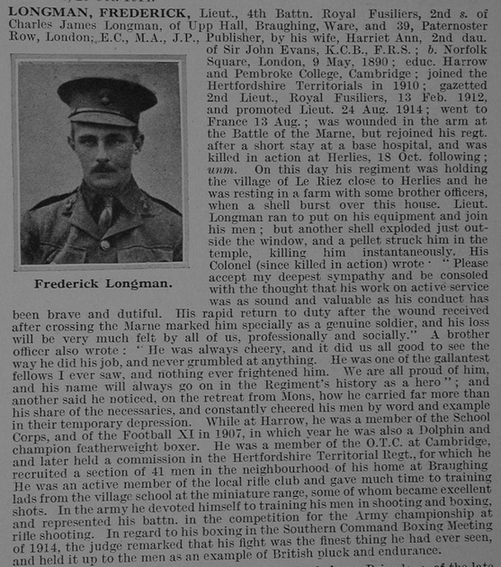 UK Photo Archive: L &emdash; Longman F Lt 4th London Regiment Obit De Ruvignys Roll Of Honour Vol 1