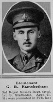 Ramsbotham G B Lt 3rd Royal Sussex Regiment The Sphere 16th Oct 1915