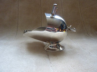 Vintage Silver Plated Coal Scuttle Sugar Bowl With Tongs