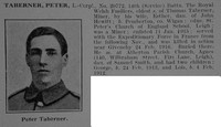 Taberner P LCpl 20772 14th Royal Welsh Fusiliers Obit De Ruvignys Roll Of Honour Vol 3
