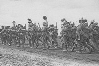 Soldiers In The Wiltshire Regiment Going Forward On The Somme
