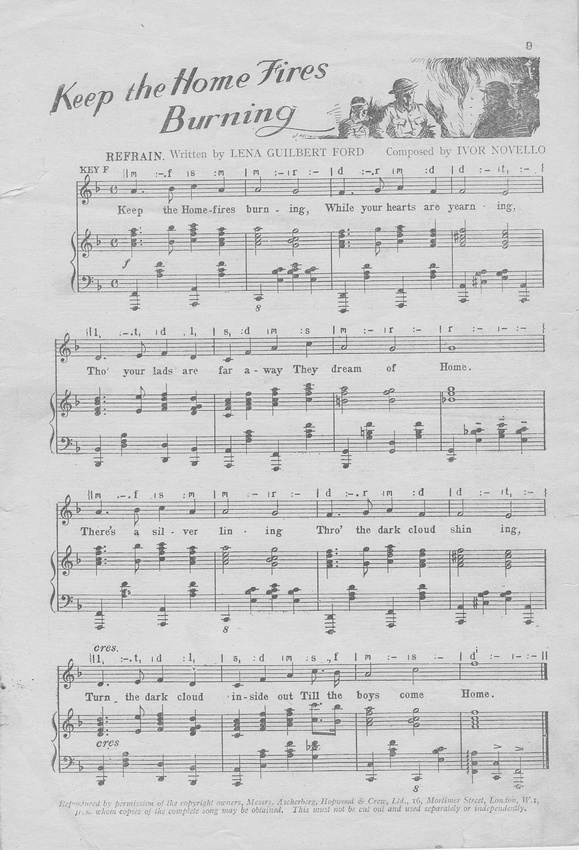 UK Photo Archive: WW1 Sheet Music &emdash; Keep The Home Fires Burning Music