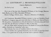 Bromfield-Williams J 2nd Lt Cameron Highlanders Obit Harrow Roll Of Honour Vol 3