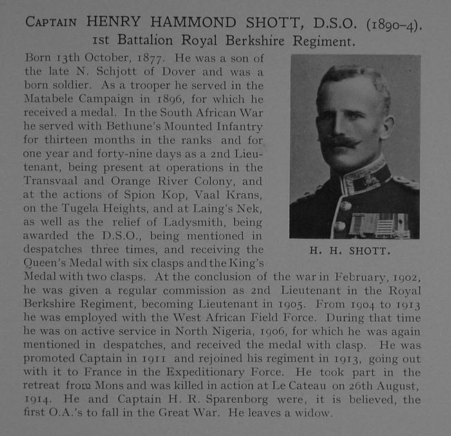 UK Photo Archive: Dulwich College War Record 1914-1919 &emdash; Shott H H Captain DSO 1st Royal Berkshire Regiment Obit Dulwich College Roll Of Honour