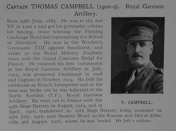 UK Photo Archive: Dulwich College War Record 1914-1919 &emdash; Campbell T Captain Royal Garrison Artillery Obit Dulwich College Roll Of Honour