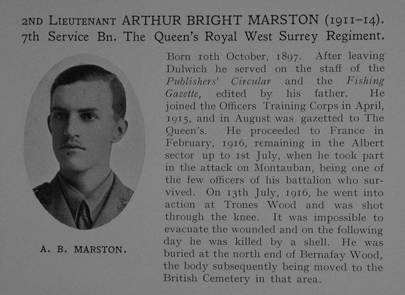 UK Photo Archive: Dulwich College War Record 1914-1919 &emdash; Marston A B 2nd Lt 7th Queens Royal West Surrey Regiment Obit Dulwich College Roll Of Honour