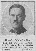 Dawson W R A Lt Col DSO+2Bars Royal West Kent Regiment The Graphic 7th Nov 1918