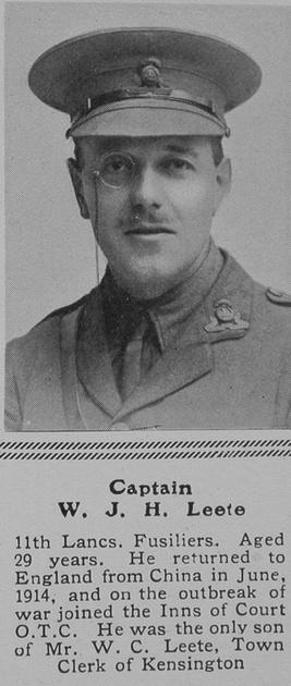 UK Photo Archive: L &emdash; Leete W J H Captain 11th Lanc Fusiliers The Sphere 4th Mar 1916