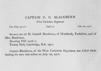 Blackburn G G Captain West Yorkshire Regiment Obit Harrow Roll OfHonour Vol 3