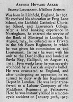 Asker A H 2nd Lt 6th Essex Regiment Obit