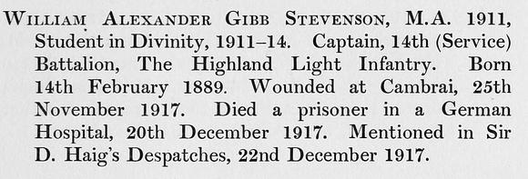 UK Photo Archive: St Andrew's University Roll Of Service &emdash; Stevenson W A G Captain 14th Highland Light Infantry Obit St Andrews University Roll Of Honour