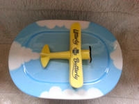 Utterly Butterly Biplane Lidded China Butter Dish