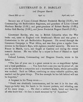 Barclay D F Lt 2nd Dragoon Guards Obit