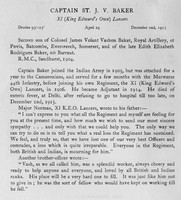 Baker St J V Captain 11th Lancers Obit Harrow Roll Of Honour Vol 3