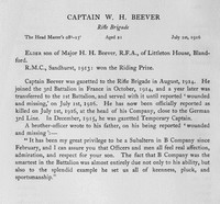 Beever W H Captain Rifle Brigade Obit Harrow Memorials Of The Great War Vol III