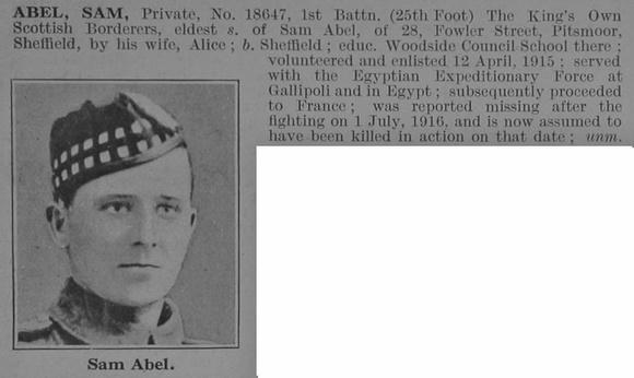 UK Photo Archive: A &emdash; Abel S Pte 1st KOSB De Ruvignys Roll Of Honour Vol 3
