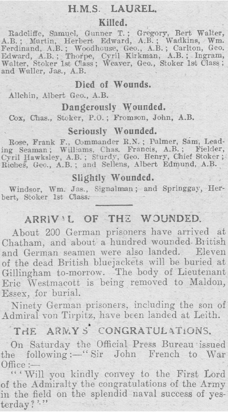 UK Photo Archive: WW1 Casualty Lists &emdash; Casualty List The Graphic 31st Aug 1914 Heligoland Part 2