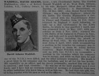 Waddell D A Lt 4th Gordon Highlanders Obit De Ruvignys Roll Of Honour Vol 3