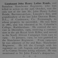 Reade J H L Lt 2nd Manchester Regiment Obituary Our Heroes Mons To The Somme Aug 1914-Jul 1916