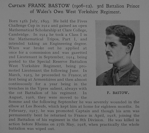 UK Photo Archive: Dulwich College War Record 1914-1919 &emdash; Bastow F Captain 3rd West Yorkshire Regiment Obit Dulwich College Roll Of Honour