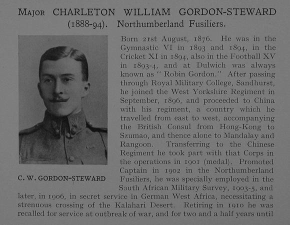 UK Photo Archive: Dulwich College War Record 1914-1919 &emdash; Gordon-Steward C W Major Northumberland Fusiliers Obit Dulwich College Roll Of Honour Vol 4