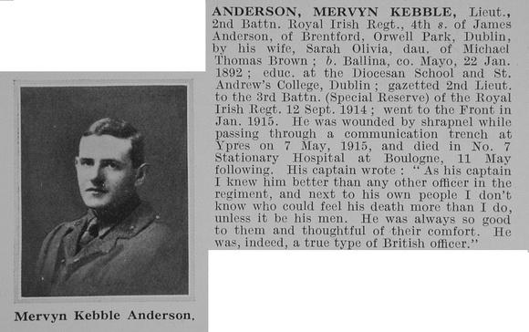 UK Photo Archive: A &emdash; Anderson M K Lt 2nd Royal Irish Regiment Obit