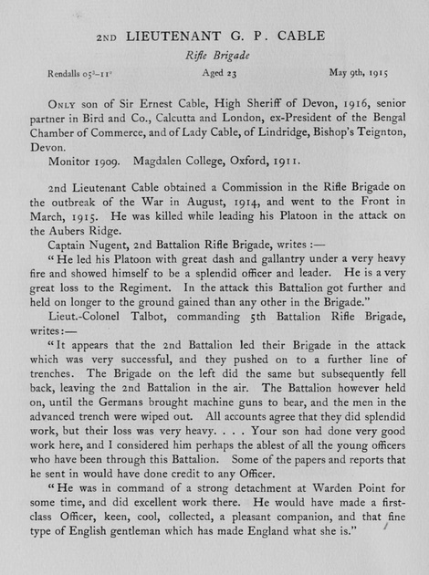 UK Photo Archive: Harrow Memorials Of The Great War Vol 2 1914-1918 Obituaries &emdash; Cable G P 2nd Lt Rifle Brigade Obit