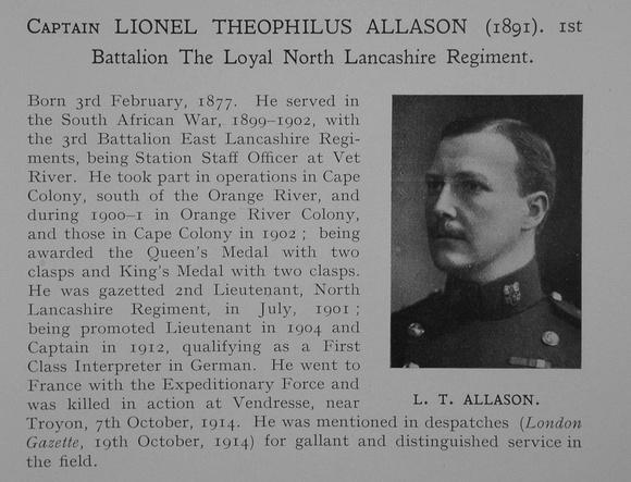 UK Photo Archive: Dulwich College War Record 1914-1919 &emdash; Allason L T Captain 1st Loyal North Lancs Regiment Obit Dulwich College Roll Of Honour