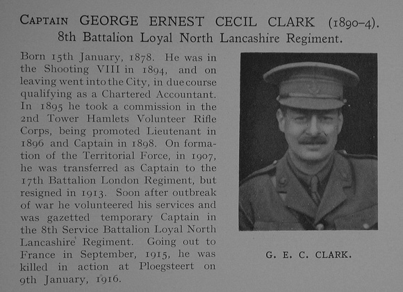 UK Photo Archive: Dulwich College War Record 1914-1919 &emdash; Clark G E Captain 8th Loyal North Lancs Regiment Obit Dulwich College Roll Of Honour