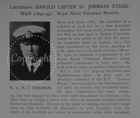 UK Photo Archive: Dulwich College War Record 1914-1919 &emdash; Steadman H L St J Lt Royal Naval Volunteer Reserve Obit Dulwich College Roll Of Honour