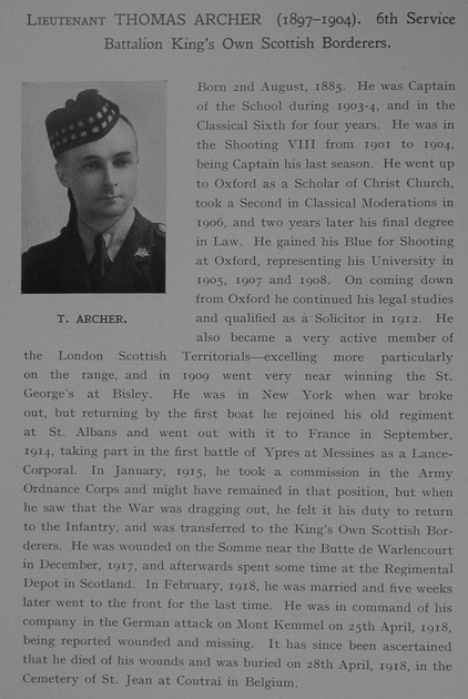 UK Photo Archive: Dulwich College War Record 1914-1919 &emdash; Archer T Lt 6th Kings Own Scottish Borderers Obit Dulwich College Roll Of Honour