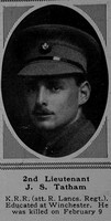 Tatham J S 2nd Lt 9th King's Royal Rifle Corps Attd King's Own (Royal Lancaster Regiment) The Sphere 24th Mar 1917