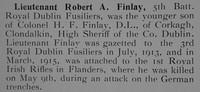 Finlay R A Lt 5th Attd 1st Royal Dublin Fusiliers Obit Our Heroes Mons To The Somme