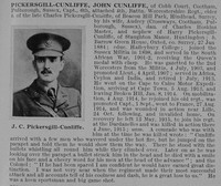 Pickersgill-Cunliffe J C Captain 4th Worcs Regt Obit De Ruvignys Roll Of Honour Vol 1