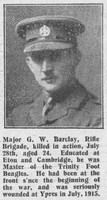 Barclay G W Major MC 1st Rifle Brigade The Graphic 9th Aug 1916