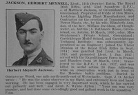 Jackson H M Lt 11th Royal Irish Rifles Attd RFC Obit De Ruvignys Roll Of Honour Vol 3